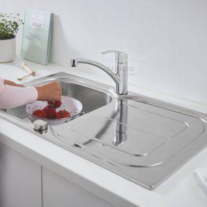 GROHE Комплект кухненска мивка и кухненски смесител с въртящ се чучур