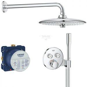 GROHE Комплект термостатен смесител за душ + ръчен душ + гарнитура