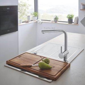 GROHE Комплект кухненска мивка и кухненски смесител с издърпващ се аератор